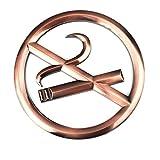 Z-COLOR 1Pcs No Smoking Sign Acrylic Warning Mark Stick on the Wall or Door(Bronze-No smoking)