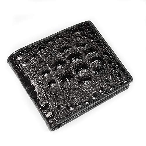 Men's Genuine Leather Bi-fold Exotic Wallet Crocodile Alligator Pattern (BlackPattern5)