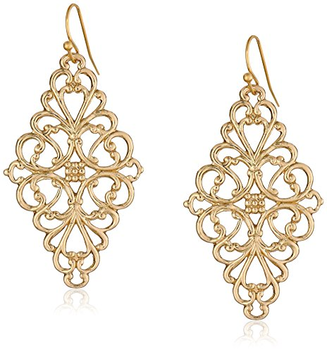 1928 Jewelry Gold-Tone Filigree Diamond Drop Earrings