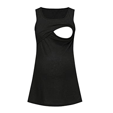 de4e06ce250 Toponly Women's Maternity Nursing Baby Vest Sleeveless Comfy Pregnancy  Breastfeeding Tank Tops Black