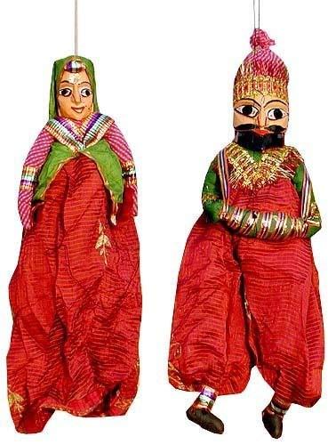 Buy Jaipur Handicraft Rajasthani Puppets Multicolour 38 1 Cm