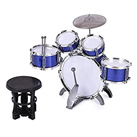 ammoon Children Kids Drum Set Musical Instrument Toy 5 Drums with Small Cymbal Stool Drum Sticks for Boys Girls 6