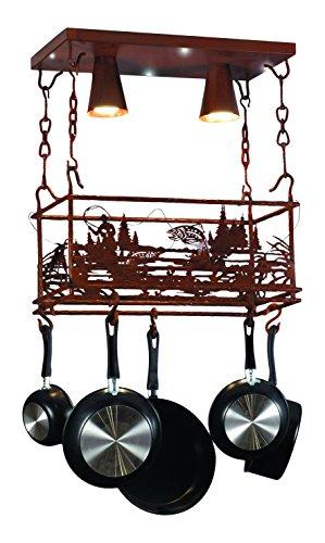 Meyda Tiffany 82884 Fly Fishing Creek Ceiling Light Fixture with Pot Rack, 24