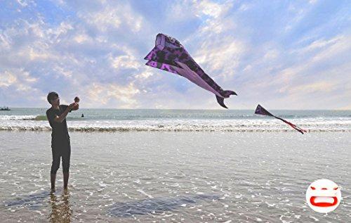 kizh Kite Giant 3D Dolphin Frameless Soft Parafoil Kites for Kids and Adults Easy Flyer Kite for Beach Park Garden Playground(Purple) by kizh