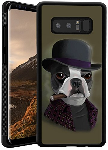 Samsung Galaxy Note 8 Case Anti-Scratch & Protective Cover for Samsung Galaxy Note 8 Bowler Hat Terrier with Cigar TPU and PC Phone Case