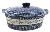 Polish Pottery Tulip Large Oval Baker with Lid