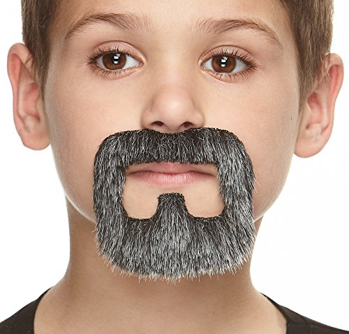 Mustaches Fake Beard, Self Adhesive, Novelty, Small Inmate False Facial Hair, Costume Accessory for Kids, Salt and Pepper Color -