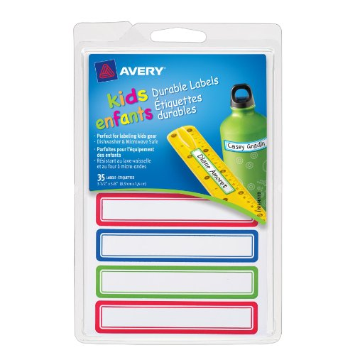 UPC 072782414283, Avery Durable Labels for Kids' Gear, Assorted, 0.625 x 3.5 Inches , Pack of 35 (41428)