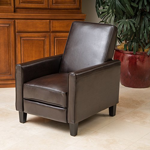 Genial Lucas Brown Leather Modern Sleek Recliner Club Chair