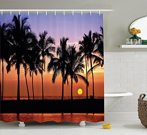[Hawaiian Decorations Shower Curtain Set Hawaiian Sunset On Big Island Anaehoomalu Bay Tropic Horizon Ocean Romantic Resort Bathroom] (Vintage Pin Up Girl Costume Ideas)