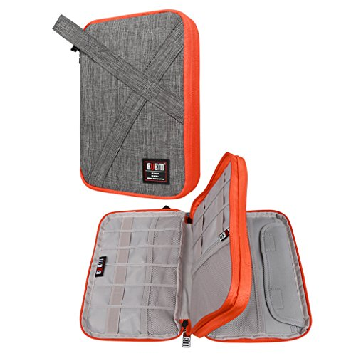 BUBM Double Layers Handy Travel Gadget Organiser, Electronics Accessories Bag / Battery Charger Case for iPad Mini and Tablet with Handle (Medium, Gray) by BUBM