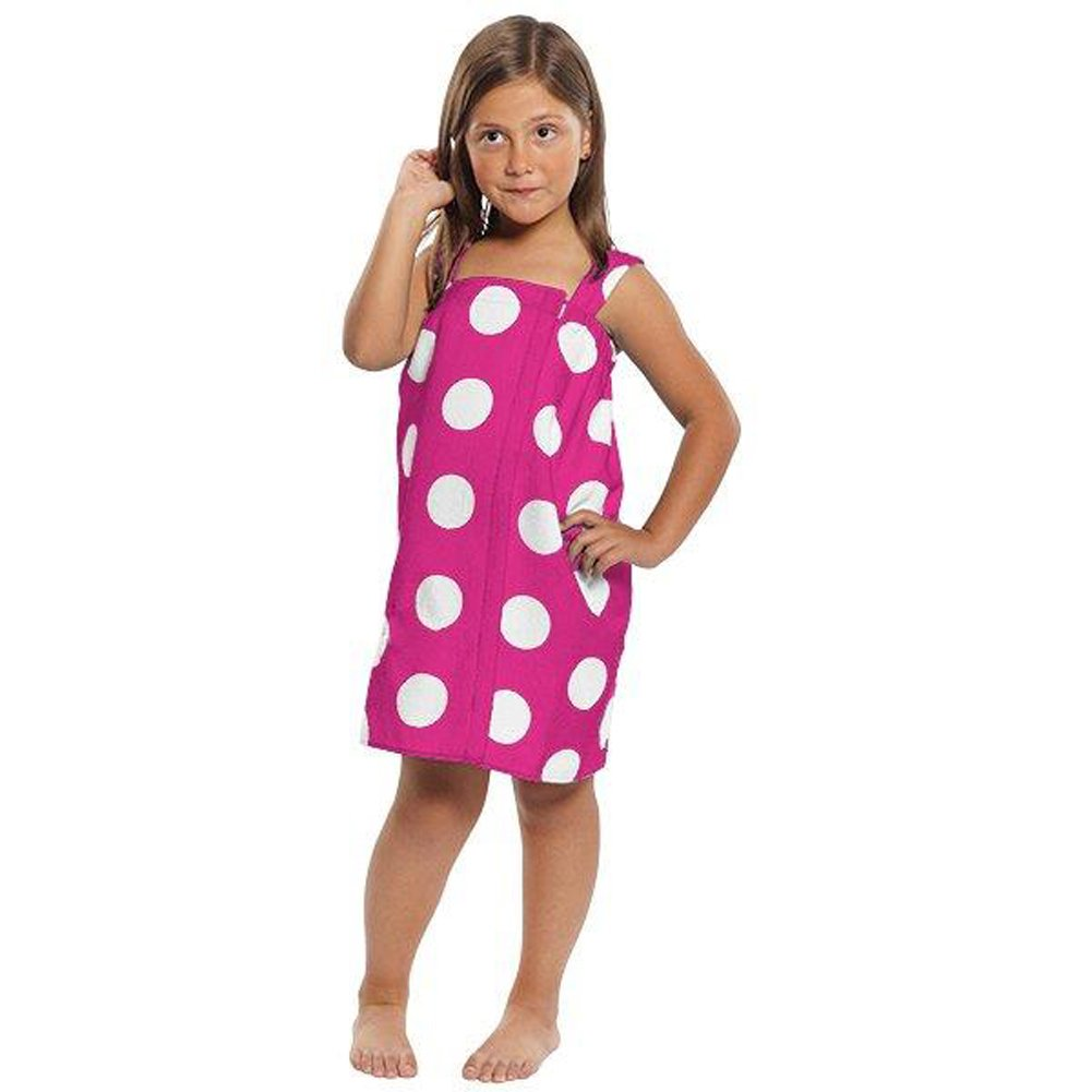 Terry Cotton Girls Wrap Towels, Swimming Cover Up, Hot Pink,  Small Size 6