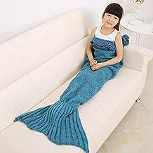 KALRI Warm and Soft Kids Knitted Mermaid Blanket Handmade Sleeping Bag Sofa Quilt Living Room Blankets