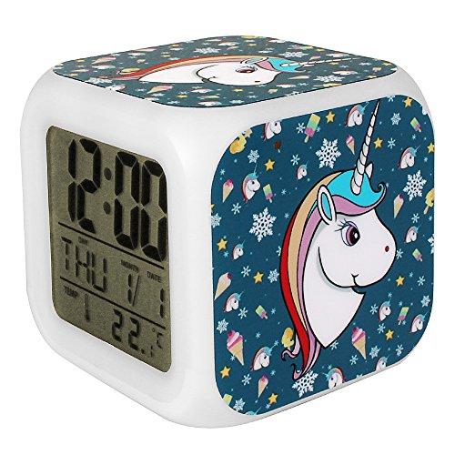(Bonamana Unicorn Alarm Clock Light Nightlight Accessories-Time, Temperature, Alarm, Date, for Teenager Adults (C))