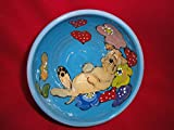 """Wheaten Terrier, 8"""" Dog Bowl for Food or Water. Personalized at no Charge. Signed by Artist, Debby Carman."""