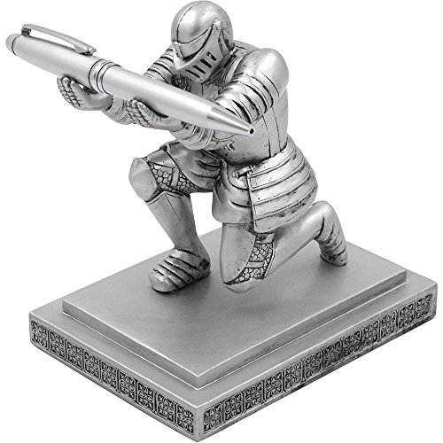 YOLER Resin Soldier Executive Knight Pen Holder - Personalized Desk Accessory Pen Stand for A Gift - Decorative Pencil Holders Desk Organizer