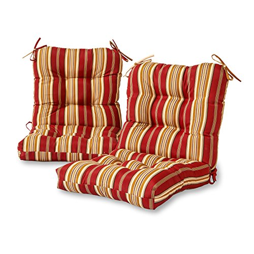 Greendale Home Fashions Outdoor Seat/Back Chair Cushion (set of 2), Roma (Stripe Cushion)