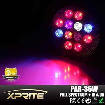 Xtreme Grow® E26 E27 36W Led Grow Light Full Spectrum Red Blue White Orange IR UV (Ultraviolet) LED Lights for Plants in Garden Greenhouse