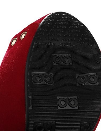 ShangYi Womens Shoes Heel Heels / Peep Toe / Platform Sandals / Heels Party & Evening / Dress / Casual Black / Blue / Red Blue