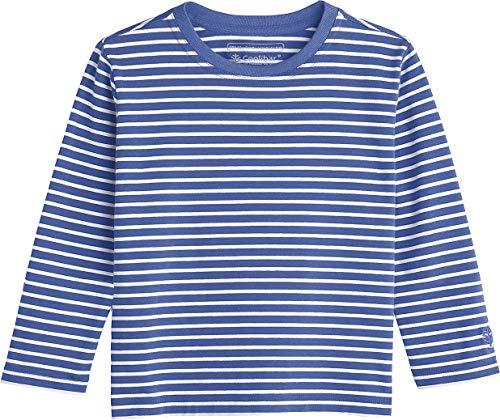 2bbc59e1c93b2 Coolibar UPF 50+ Toddler Long Sleeve Everyday T-Shirt - Sun Protective (3T-  Empire Blue White Stripe)