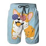 LQQWY Quick Dry Men's Corgi American Flag Patriotic Sunglasses Beach Shorts Swim Trunks Board Shorts