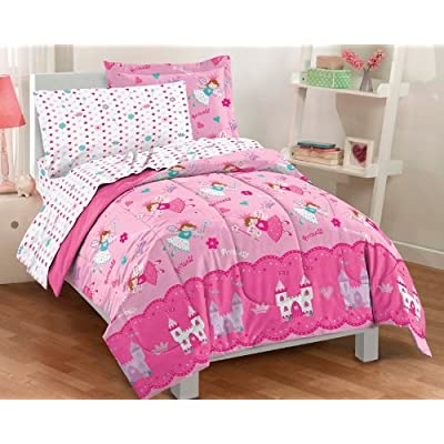 Dream Factory Magical Princess Ultra Soft Microfiber Girls Comforter Set, Pink, Twin: Home & Kitchen