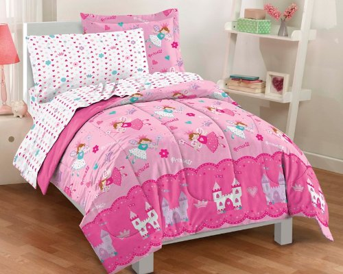 dream FACTORY Magical Princess Ultra Soft Microfiber Girls Comforter Set, Pink, - Princess Sets Bedding