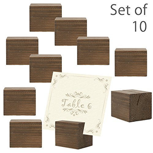 10 piece Rustic Natural Wood Rectangular Table Place Card Holders, Dark Brown -
