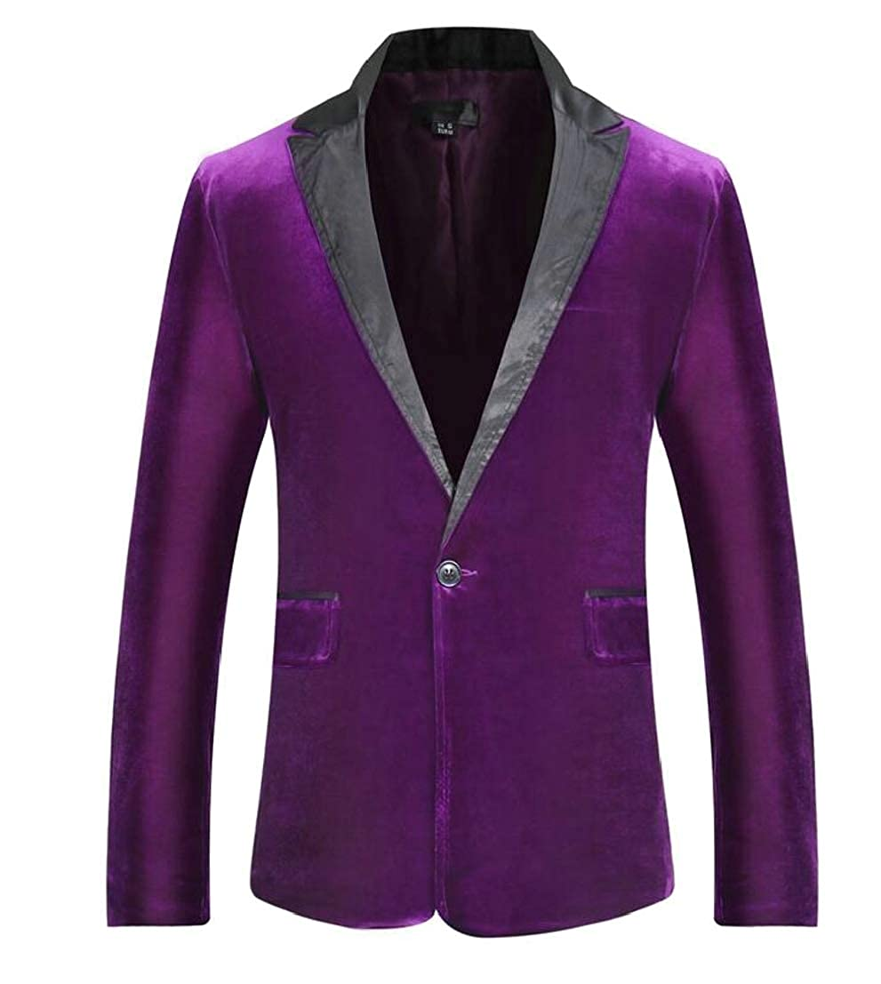 Generic Mens Tops Velvet Long Sleeve Lapel Slim Fit Suit Blazer Jackets
