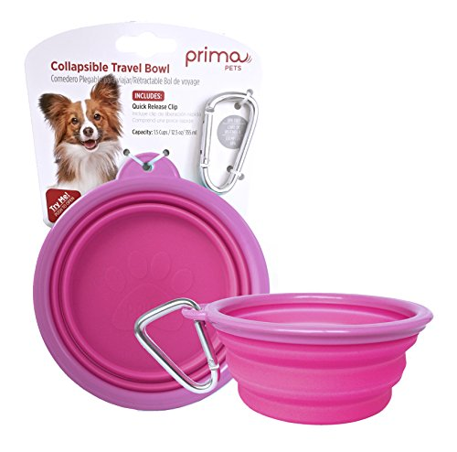 Plastic Travel Bowl - SALE: Prima Pet Expandable/ Collapsible Silicone Food & Water Travel Bowl with Clip for Small & Medium Dog and Cat, Size: 1.5 Cups (5.1 Inch Diameter Bowl) (PINK)