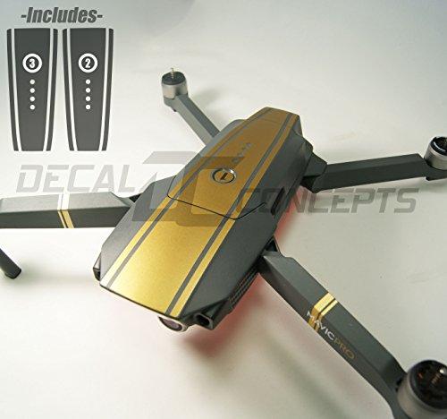 Decal Concepts DJI Mavic Gold Racing Stripes Graphic Wrap kit- Battery wrap