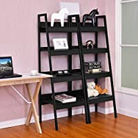 Set of 2 Classic Black Ladder Style Display Shelf Shelves Media Storage Bookshelf New