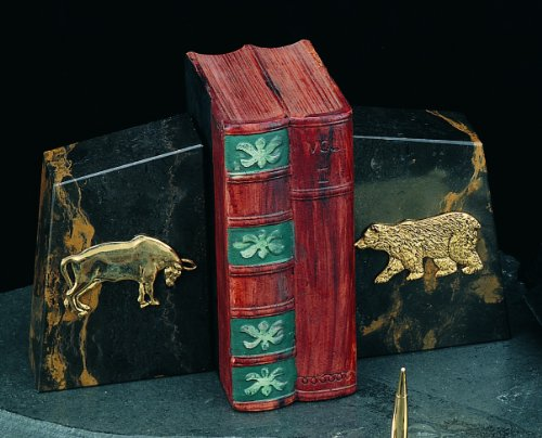 Marble Stock Market Bookends -
