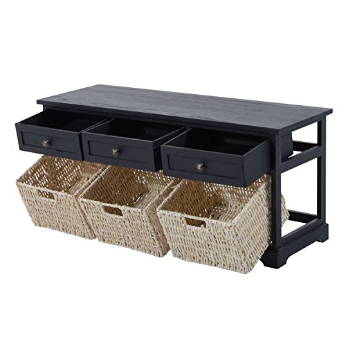 HomCom 40'' 3-Drawer 3-Basket Storage Bench - Antique Black by HOMCOM (Image #3)