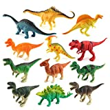 Dinosaur Figure, GBONE 12 Pack Dinosaur Toy Play-set, Safe Material Assorted Realistic Dinosaur, Vinyl Plastic Dino Dinosaur Set Party Favors Toys For Kids Boys Toddler Educational