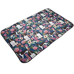 Non Skid Memory Foam Bath Mat English Springer Spaniel and Retro Floral Home Decor Shaggy Rugs Entryway Mat, Machine-Washable/Fast Drying/Anti Fatigue Doormat (19.5 x 31.5 inch) 1