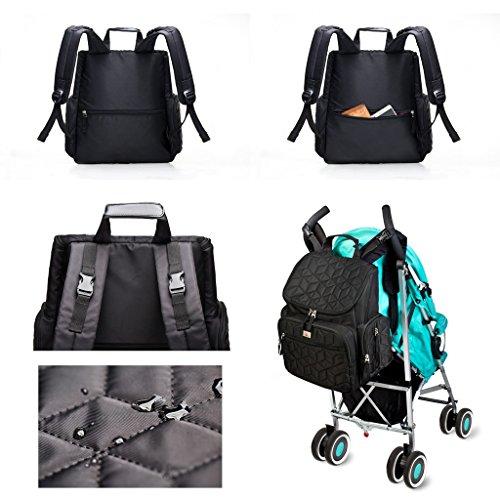 YuHan Bolsa de pañales impermeable para bebé, cambiador de pañales, mochila con bolsillo de aislamiento, apto para carrito Backpack Backpack