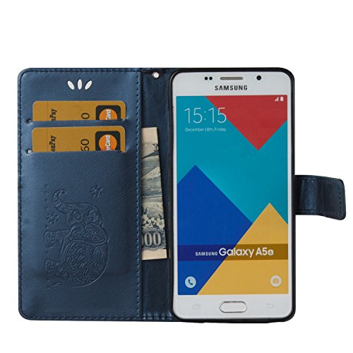 SRY-Funda móvil Samsung Para Samsung Galaxy A5 2016 Funda protectora de cuero Premium, suave PU / TPU Textura en relieve Horizontal Flip Funda de la caja con Lanyard y Tarjeta Cash Holder ( Color : Re Blue