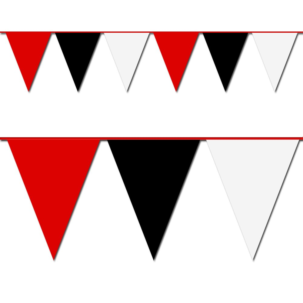 Red, Black and White Triangle Pennant Flag 100 Ft.
