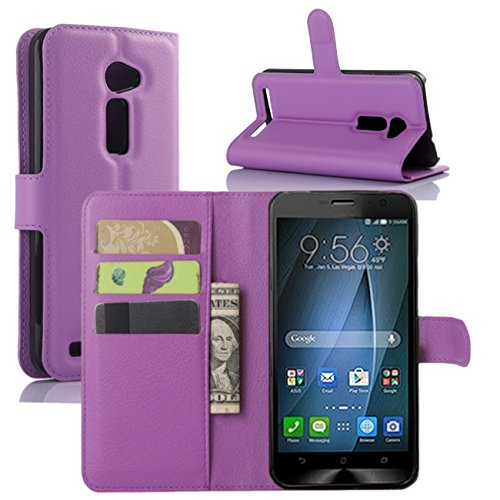 ZenFone 2E Case, Premium PU Leather Wallet Flip Case Cover with Stand Card Holder for ASUS ZenFone 2E 2015 Smartphone (Wallet - Purple) ()