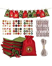 Linsition Adventskalender om te vullen, 24 stuks jute zakjes adventskalender-stoffen zakjes met 24 clips, 10 m touw, 24 stickers voor doe-het-zelf kerstproductie en decoratie