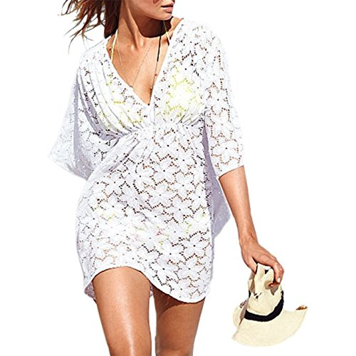 Jeasona (TM) Women's Sexy Floral Lace Beach Top Swim Bikini Cover Up (M, White)
