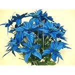 TURQUOISE-Christmas-Poinsettia-Bush-24-Artificial-Silk-Flowers-24-Bouquet-030TQ