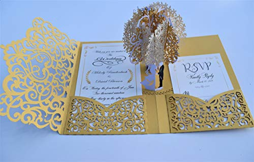 - Pop up Wedding Invitation Pocket-Folds with Envelope. Memorable, Unique and Elegant Laser Cut 3D Design by Tada Cards. Perfect for Wedding Thank You Cards (Gold Vintage Tree 10-Pack)