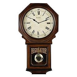 Bulova C3543 Ashford Beige Dial Walnut Hardwood Pendulum Harmonic Chime Wall Clock