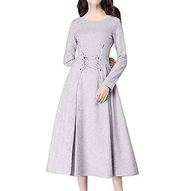 c9ac5c4040c7 LUBITY Robe Femme Couleur Unie Col Rond Manches Longues Robe en Dentelle  Mince Taille Haute Longue