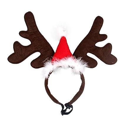 di prim'ordine nuovi oggetti nuova selezione BESTOYARD Cerchietti per Cani Natale con Corna da Renna e Cappello di Babbo  Natale (Rosso)