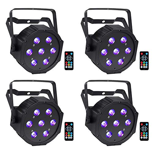 LED Stage Lights Package, YeeSite 70W 7LEDs RGBW Par Can Lighting by Remote and DMX Control for Wedding Church DJ Stage Lighting - 4 Pack