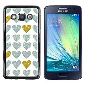 FECELL CITY // Duro Aluminio Pegatina PC Caso decorativo Funda Carcasa de Protección para Samsung Galaxy A3 SM-A300 // Gold Teal White Uniform Pattern Love