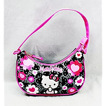 c3e6d6a3ff Amazon.com  Hello Kitty Handbag Black Flower Bow New Hand Bag Purse ...